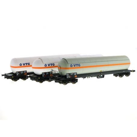 Set 3 wagons citerne gaz UAS VTG - ép. IV et V - HO - LS Models 30762