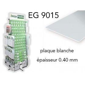 Evergreen EG9015 - (x3) plaque styrène blanche - 0.40 mm