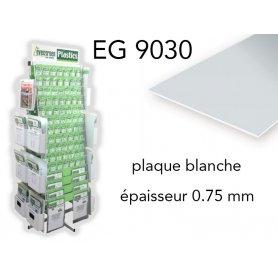 Evergreen EG9030 - (x2) plaque styrène blanche - 0.75 mm