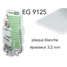 Evergreen EG9125 - (x1) plaque styrène blanche - 3.2 mm