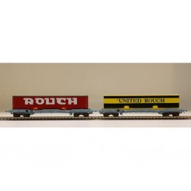 LS Models 30314 - Coffret  2 wagons porte conteneurs ROUCH époque IV - HO