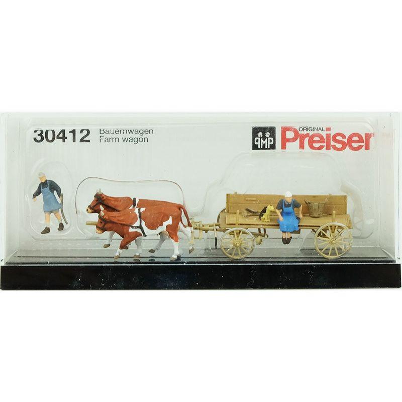 Charette avec vaches PREISER 30412 HO 1//87 chiens et paysans