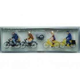 PREISER 10507 - 4 cyclistes dont 1 facteur - HO 1/87