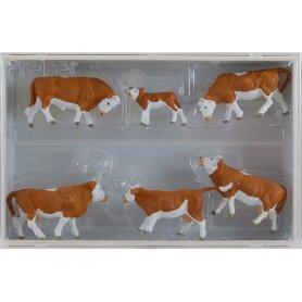 PREISER 10146 - Vaches marron et blanches - HO 1/87