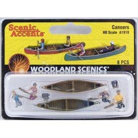 WOODLAND SCENICS A1918 - Canoës et équipage - HO 1/87