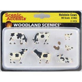 WOODLAND SCENICS A1863 - Vaches blanches et noires, veaux et bouses - HO 1/87