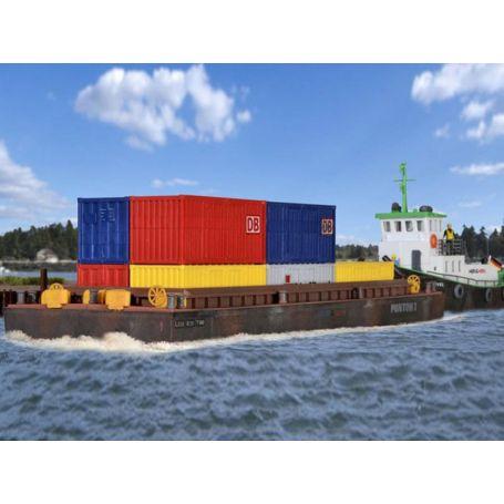 Barge de transport de containers ou produits en vrac - HO 1/87 - Kibri 38524