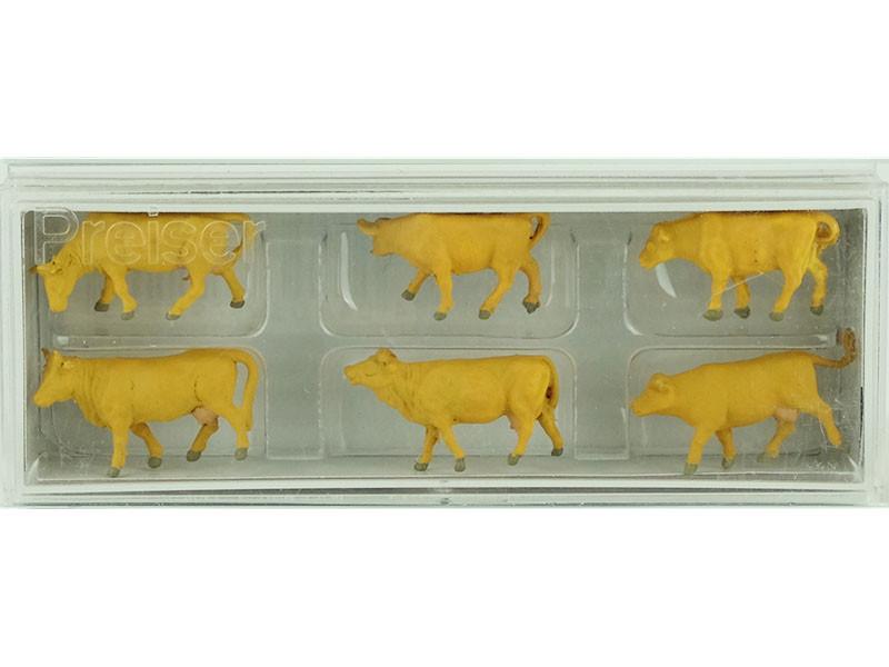 Preiser 10147-vaches marron clair 6 personnages