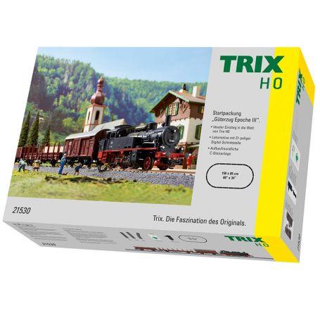 Coffret démarrage analogique HO voie C avec loco + wagons - TRIX 21530