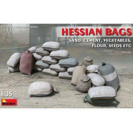 Ensemble de Sacs (sable, ciment, farine, légumes) - échelle 1/35 - MINIART 35586