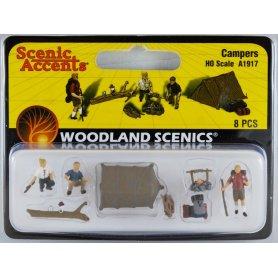 WOODLAND SCENICS A1917 - Campeurs avec tente et feu de camp - HO 1/87
