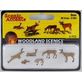 WOODLAND SCENICS A1884 - Cerfs, biches et faons - HO 1/87