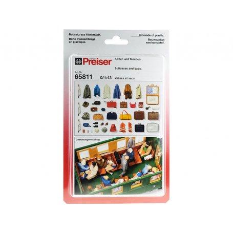 Habits divers, valises et sacs à peindre - échelle O 1/43 - PREISER 65811