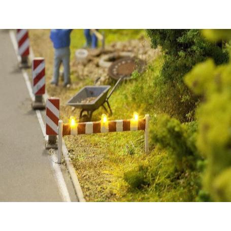 2x barrières de travaux à LED échelle HO 1/87 - FALLER 161830