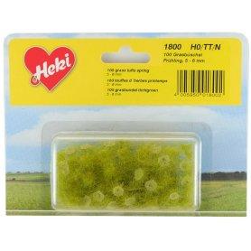HEKI 1800 - 100 touffes d'herbe vert printemps 5 - 6 mm échelle HO / N