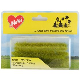 HEKI 1810 - 10 bandes d'herbe vert printemps 100 mm hauteur 5-6 mm échelle HO / N