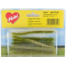 HEKI 1811 - 10 bandes d'herbe vert été 100 mm hauteur 5-6 mm échelle HO / N