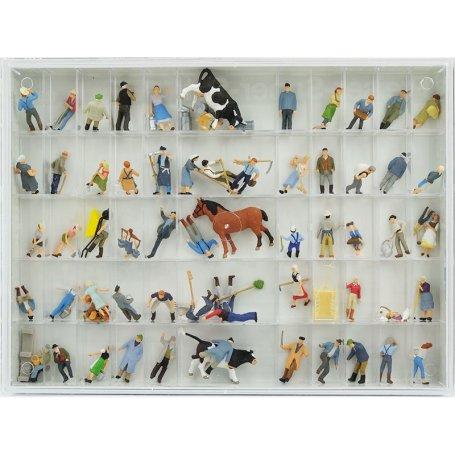 Coffret à la ferme 60 figurines et animaux - HO 1/87 - PREISER 13001