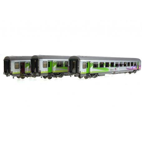 Set 3 voitures Corail Intercités ép. V-VI - SNCF - HO 1/87 - LS Models 41205