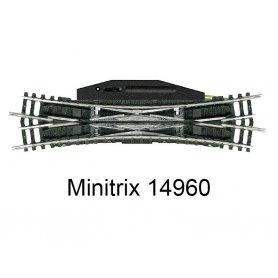 Traversée jonction double 129,8 mm avec moteur R4 15 degrés Minitrix - Trix 14960
