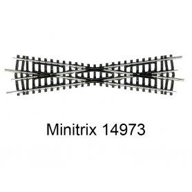 Croisement 129,8 mm 15 degrés Minitrix - Trix 14973