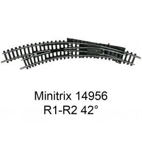 Aiguillage courbe à gauche R1-R2 42 degrés Minitrix - Trix 14956