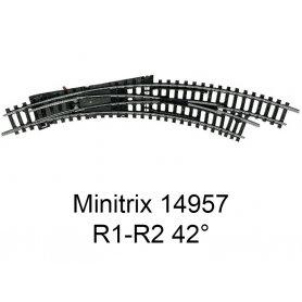 Aiguillage courbe à droite R1-R2 42 degrés Minitrix - Trix 14957