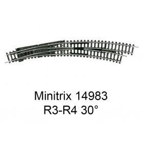 Aiguillage courbe à droite R3-R4 30 degrés Minitrix - Trix 14983