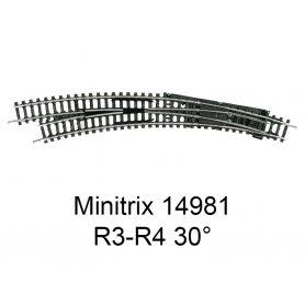 Aiguillage courbe à gauche R3-R4 30 degrés Minitrix - Trix 14981