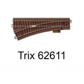 Aiguillage court à gauche 188.3mm R2 - 24.3 degrés Voie C - HO - Trix 62611
