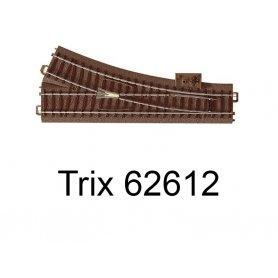 Aiguillage court à droite 188.3mm R2 - 24.3 degrés Voie C - HO - Trix 62612