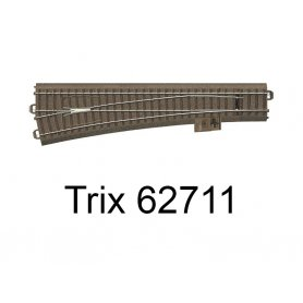 Aiguillage long à gauche 236.1mm R9 - 12.1 degrés Voie C - HO - Trix 62711