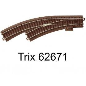Aiguillage courbe à gauche R1 360mm 30 degrés Voie C - HO - Trix 62671