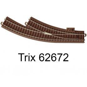 Aiguillage courbe à droite R1 360mm 30 degrés Voie C - HO - Trix 62672
