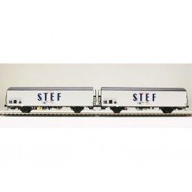 LS Models 30238 - Coffret de 2 wagons lbbes / lbes STEF bleu centré SNCF époque IV - HO