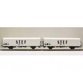 LS Models 30227 - Coffret de 2 wagons lbes STEF noir centré SNCF époque IV - HO