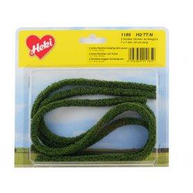 HEKI 1185 - 3x haie flexible 7x7 mm en mousse 50 cm de long vert foncé HO / N