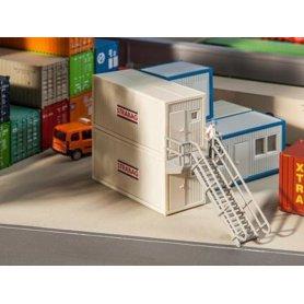 2 conteneurs de chantier - algeco - HO - Faller 130133