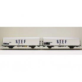 LS Models 30228 - Coffret de 2 wagons lbbes STEF bleu centré SNCF époque IV - HO