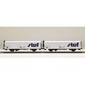 LS Models 30231 - Coffret de 2 wagons lbbghs nouveau logo STEF décentré SNCF époque V - HO