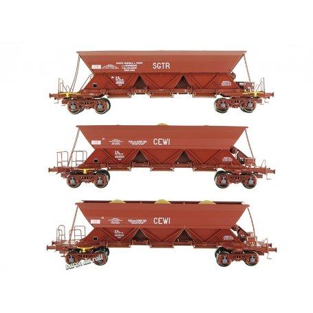 Set de 3 wagons trémie EX T1-T3 «SGTR / CEWI / CEWI» - ép. V-VI - HO 1/87 - REE WB-574