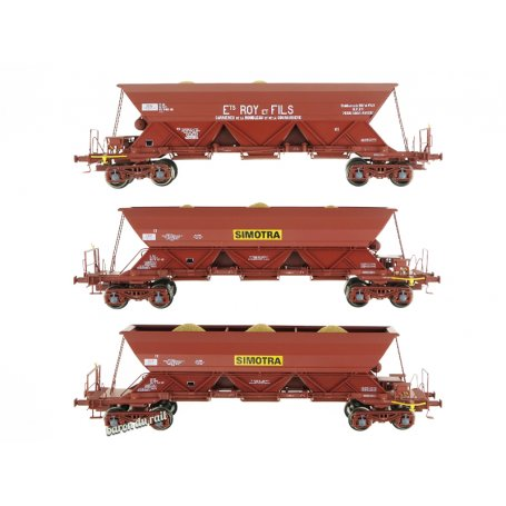 Set de 3 wagons trémie EX T2 «ROY&Fils / SIMOTRA» - ép. IV - HO 1/87 - REE WB-575