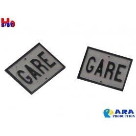 2 plaques de signalisation gare - échelle HO - Ara Production