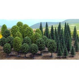 Busch 6491 - Forêt 50 arbres feuillus et conifères échelle HO