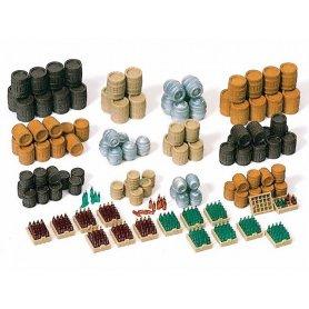PREISER 17105 - Set de tonneaux et casiers à bouteilles - HO 1/87