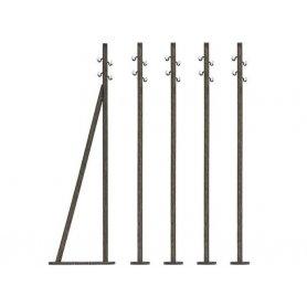 BUSCH 1569 - 5 poteaux télégraphiques bois véritable HO