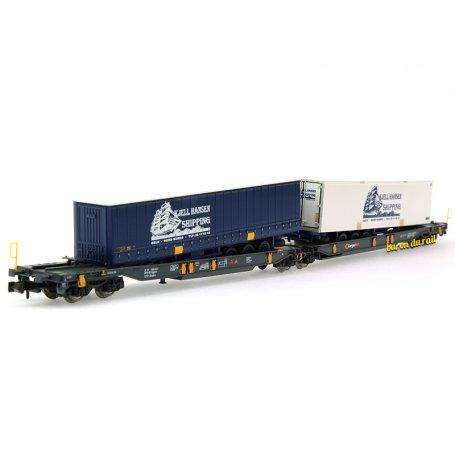 Wagon articulé double poche, CargoNet ép. VI - N 1/160 - Fleischmann 825012