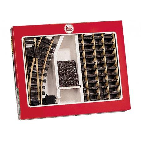 Coffret de rails avec butoir et aiguillage - G 1/22,5 - LGB 19901