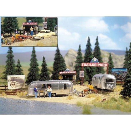 Mini scène parc pour caravane - HO 1/87 - BUSCH 1054