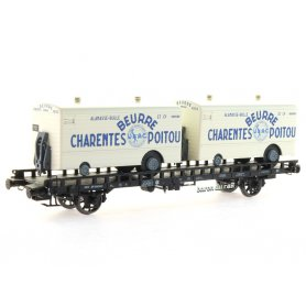 Wagon UFR Biporteur Beurre CHARENTES-POITOU ép III - HO 1/87 - REE WB-637